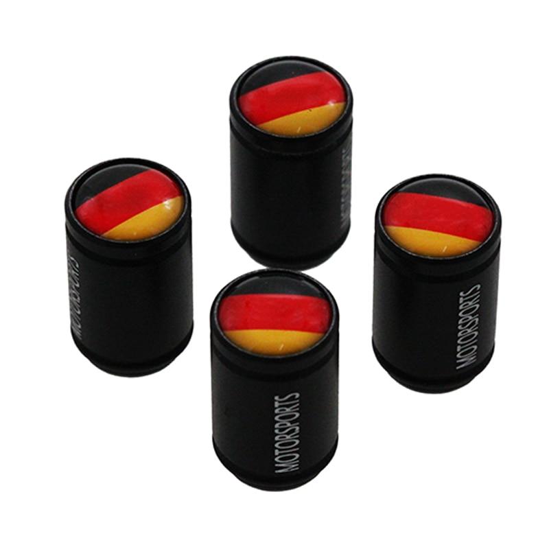 HAUSNN 4 unids/set Bandera de Alemania Aleación negra tapas de válvula de neumático de rueda de coche polaco tapa de vástago de aire para VW Benz BMW Volkswagen