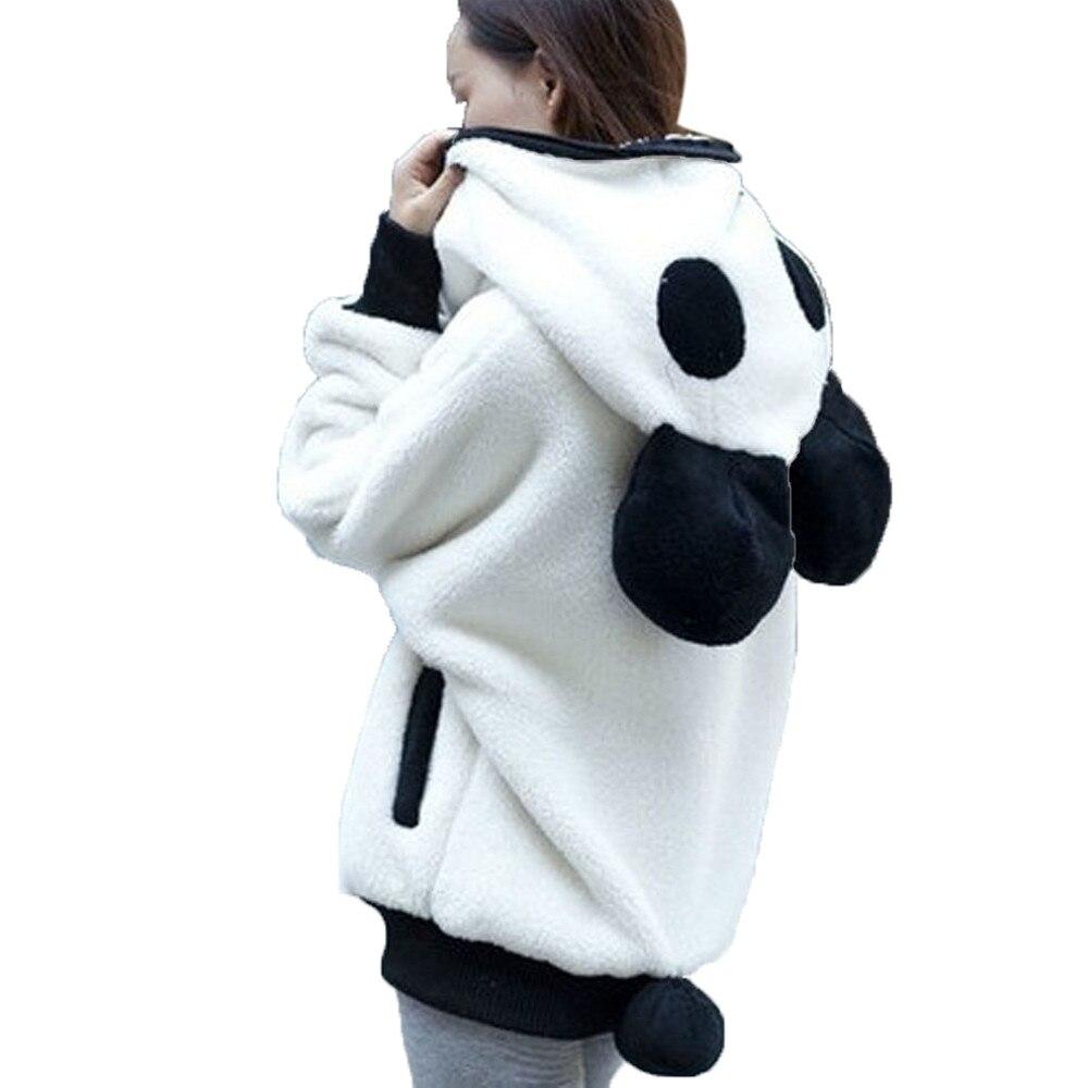 Bonita oreja de oso Panda invierno cálido Manta y capucha abrigo mujeres chaqueta con capucha prendas de vestir exteriores negro blanco Sudaderas Para Mujer