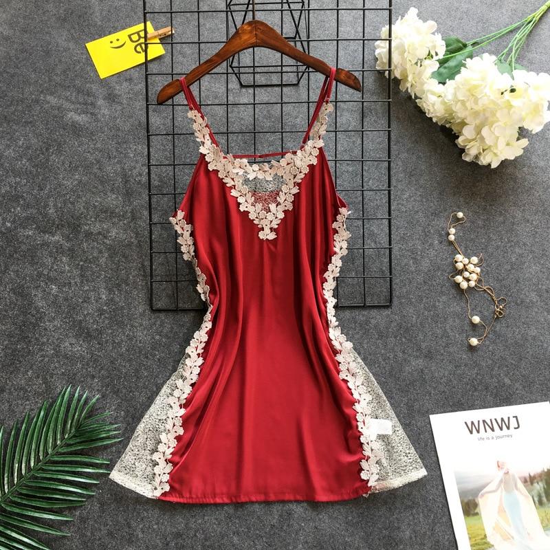 Daeyard Women's Nightgown Sexy Lingerie Lace Trimmed Silk Nightdress Deep V-Neck Appliques Sleepshirt Summer Backless Dress
