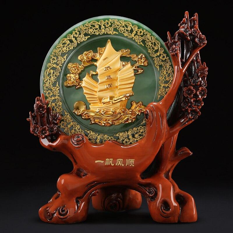 2020 mejor regalo de negocios-casa Oficina lobby tienda empresa apertura FENG SHUI dinero dibujo buena suerte oro Sailboat estatua de cristal