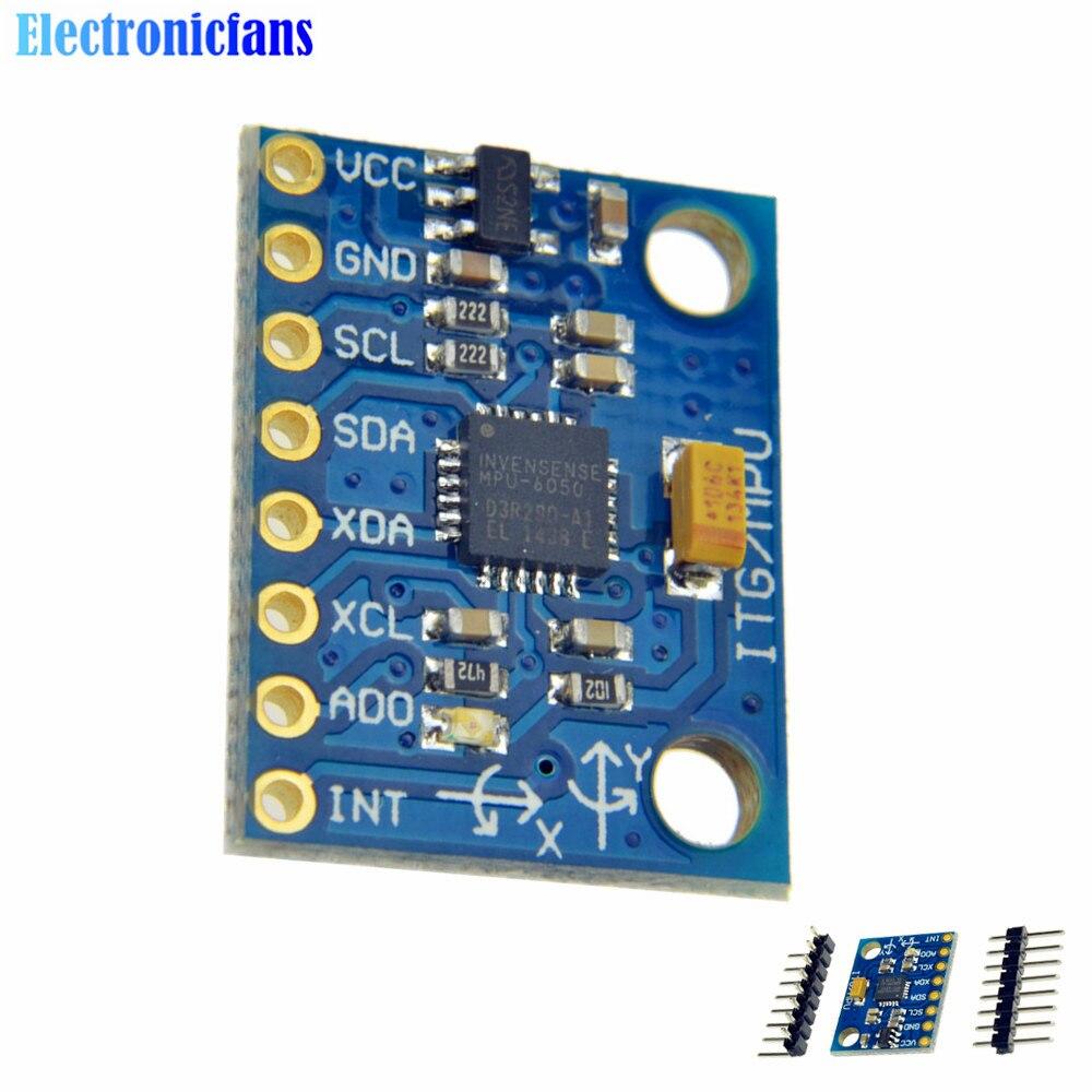 20 pièces IIC I2C GY-521 MPU-6050 MPU6050 capteurs gyroscopiques analogiques 3 axes + Module accéléromètre 3 axes pour Arduino avec broches 3-5V