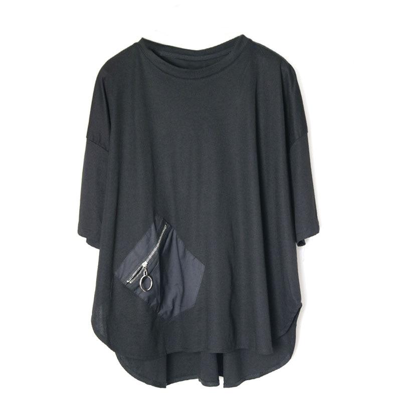 2019 nueva primavera verano cuello redondo manga corta bolsillo negro sólido suelto algodón Lino camiseta mujeres moda marea