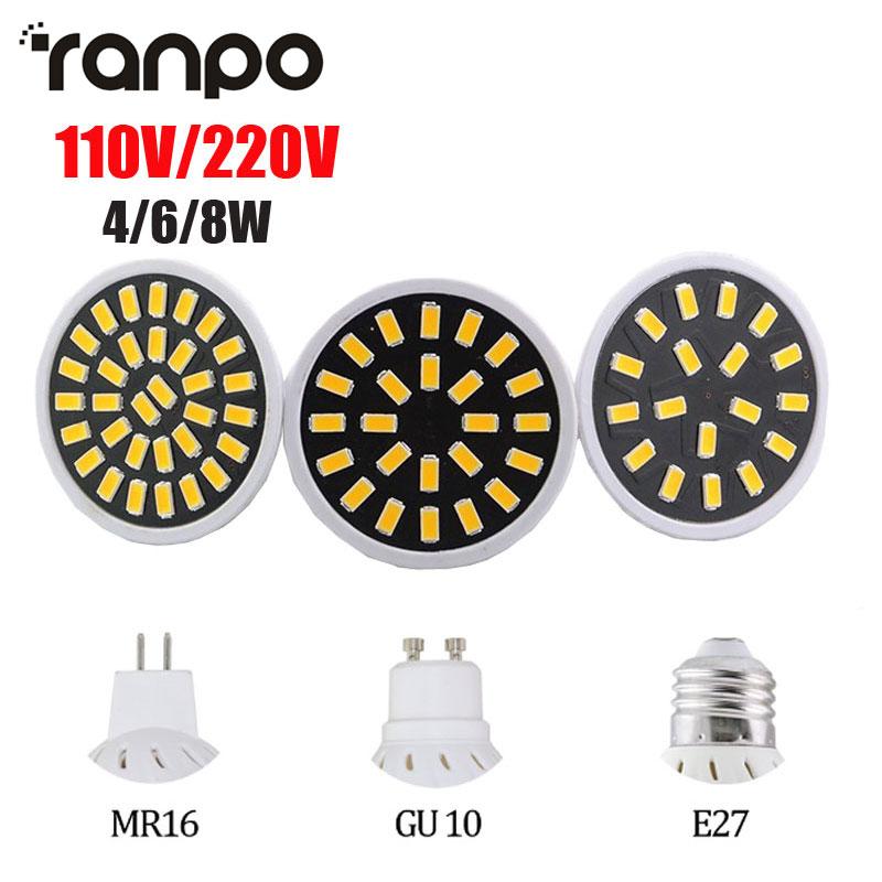 Яркая MR16 E27 GU10 4W 6W 8W Светодиодная лампа AC110V 220V Bombillas Светодиодная лампа прожектор 18 24 32 LED 5733 SMD лампы Точечные светильники
