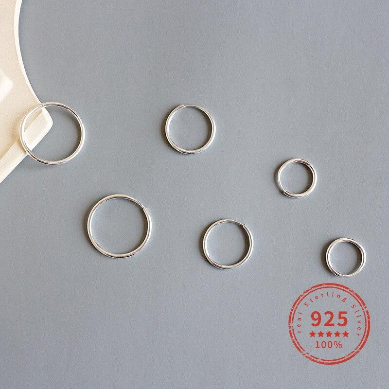 Pendientes de plata de ley 925 reales pendientes de aro redondo minimalista para joyería fina de fiesta de moda 2019 accesorios WDE069