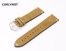 20 22mm cuir de vachette marron clair daim VINTAGE bracelet de montre bracelet ceinture argent poli boucle ardillon pour Rolex Omega IWC Tag