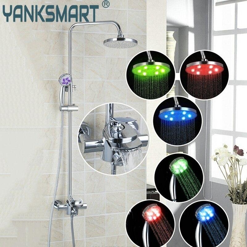 الحمام Shouer Facuet الحديثة Led الحمام صنبور مجموعة حمام الأمطار W/OControl Valv اليد صنبور دش مجموعة الحنفيات