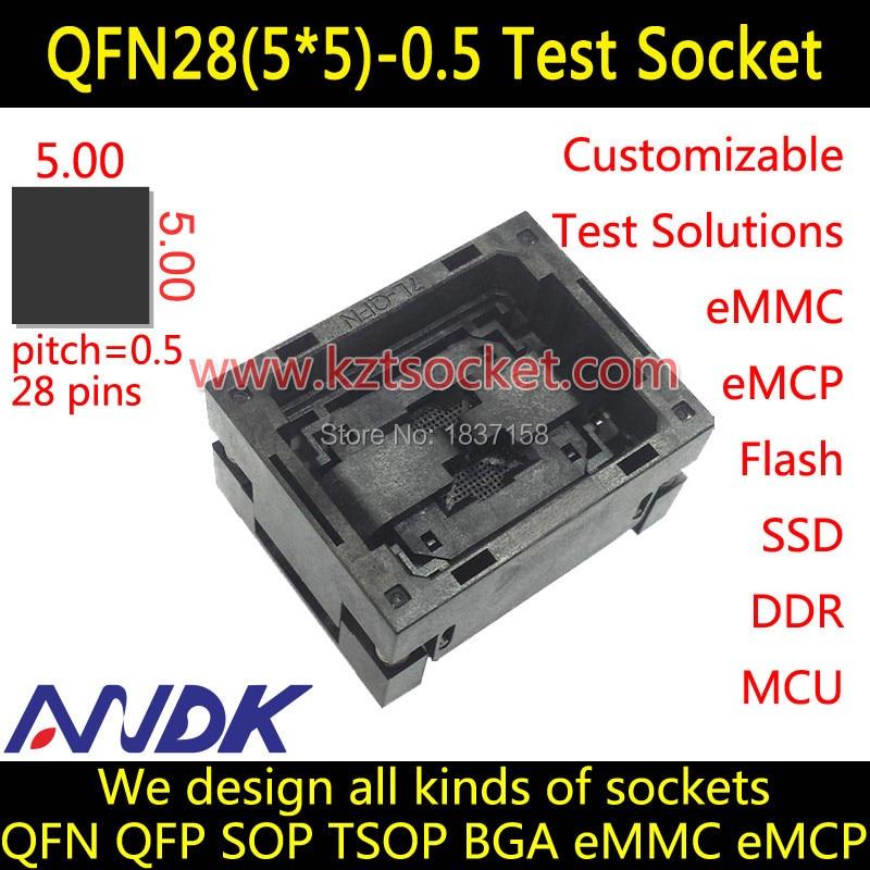 QFN28 (5x5x5)-0,5 hembra QFN28 hembra MLF28 hembra MLP28 hembra abierta superior NP506-028-028-C-G