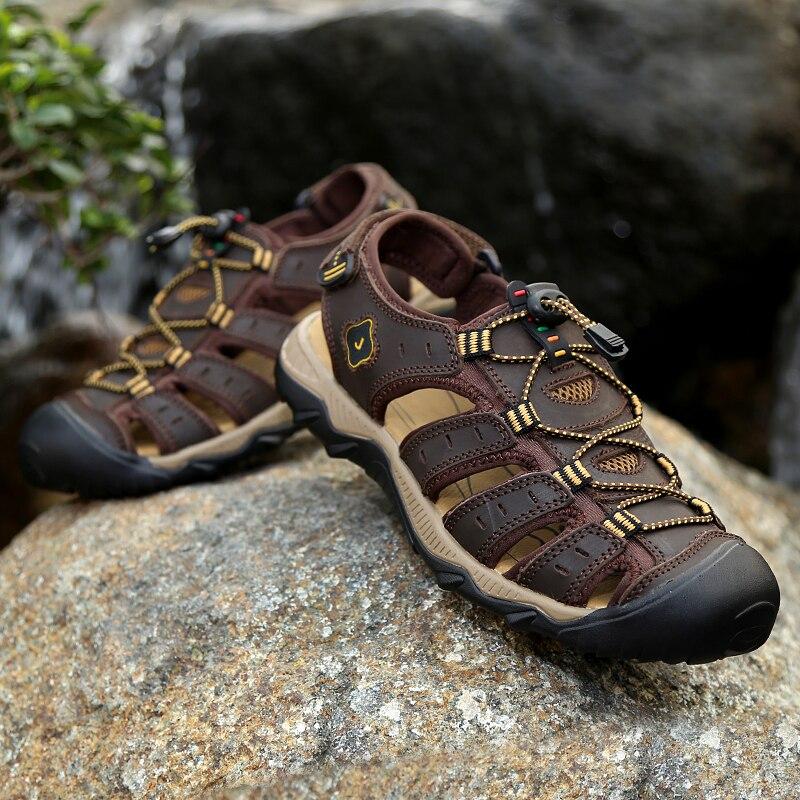 Sandale homme sandália homem sandálias de couro genuíno dos homens verão homens sapatos sandálias praia homem ao ar livre tênis casuais tamanho grande 47 48