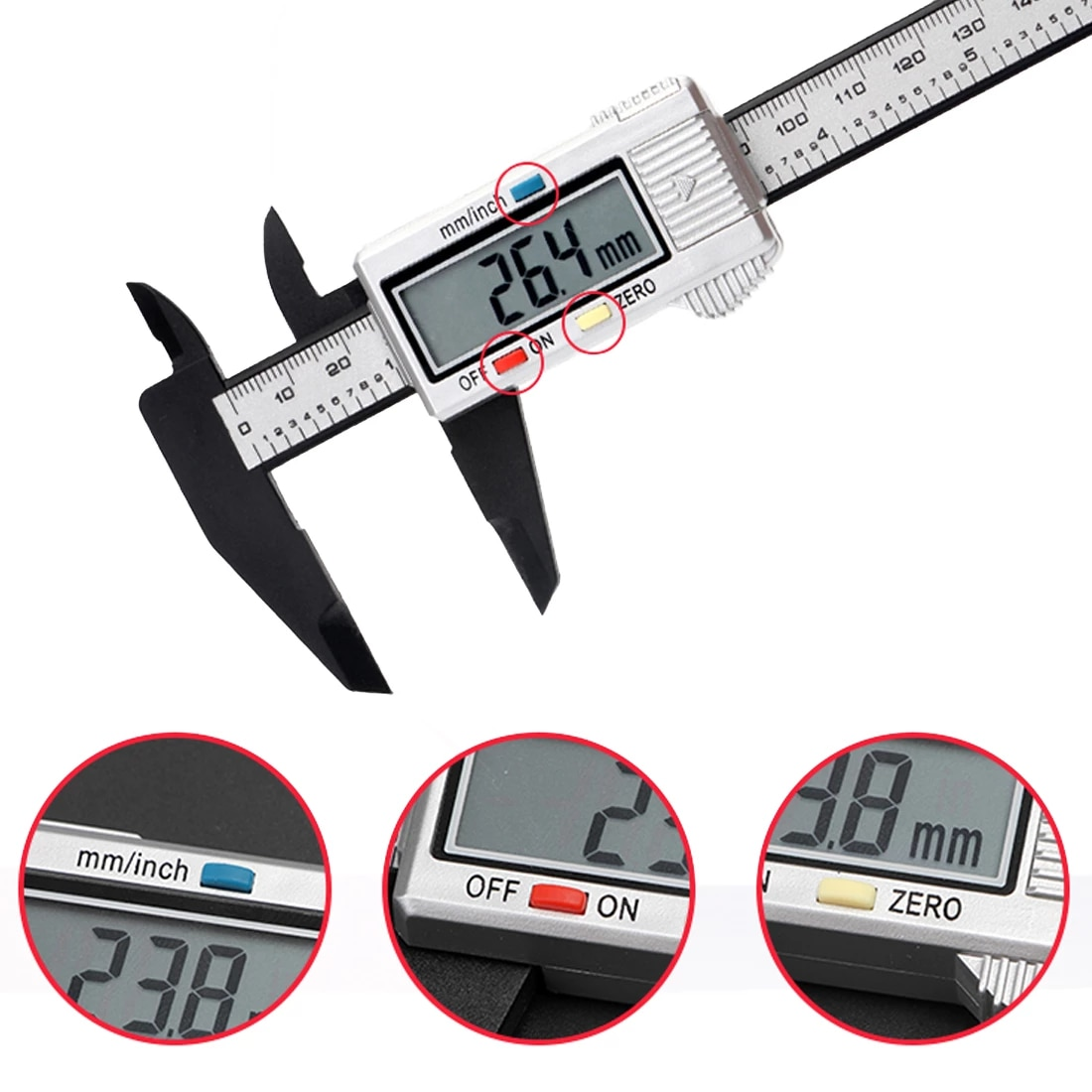 150mm 6inch Lcd Electronic Carbon Fiber Gauge Digital Vernier Calipers Measure Height Measuring Instruments Micrometer Calipers Aliexpress