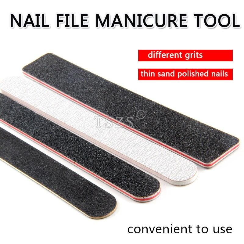 10 unids/lote, Lima de lijado gris y negro liso 180/240, Lima de madera cuadrada, herramienta de gel UV de manicura acrílica para manicura