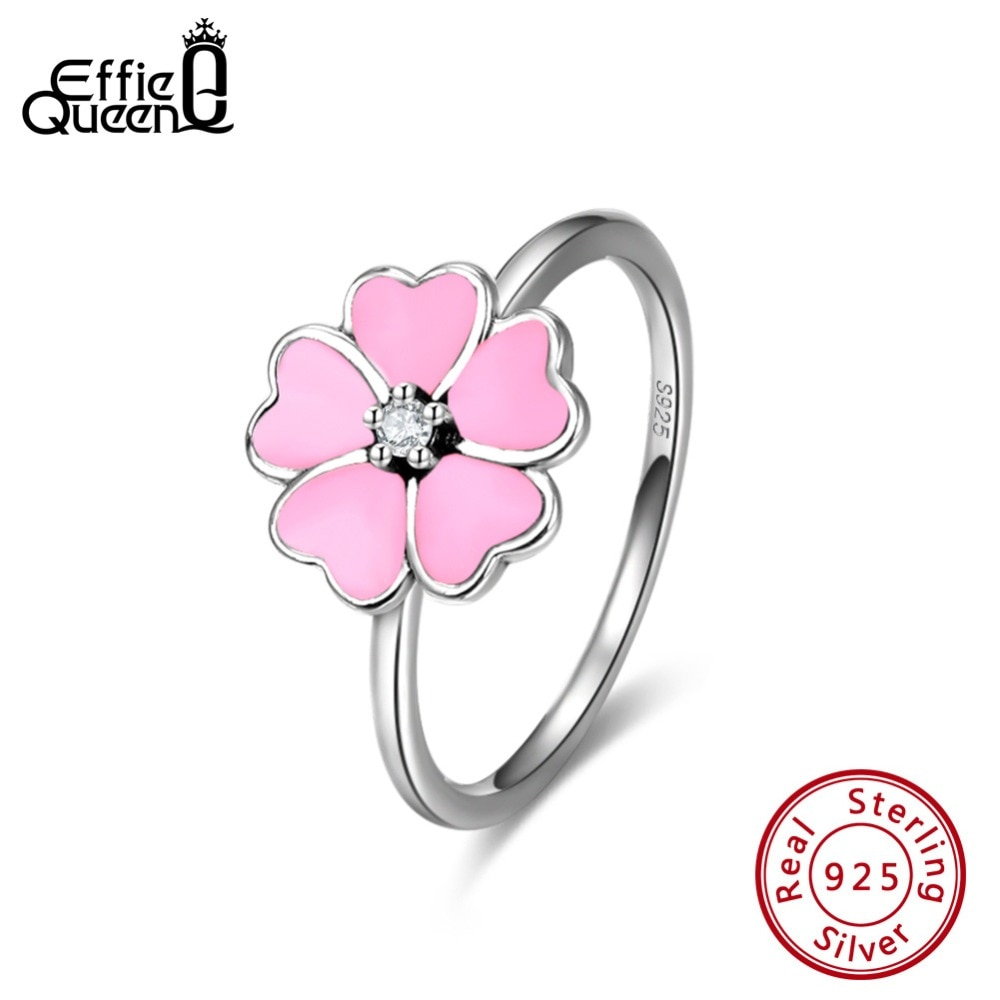 Anillos de mujer Effie Queen Plata de Ley 925 auténtica con esmalte Rosa forma de flor romántica anillo de boda anillo de plata joyería BR114