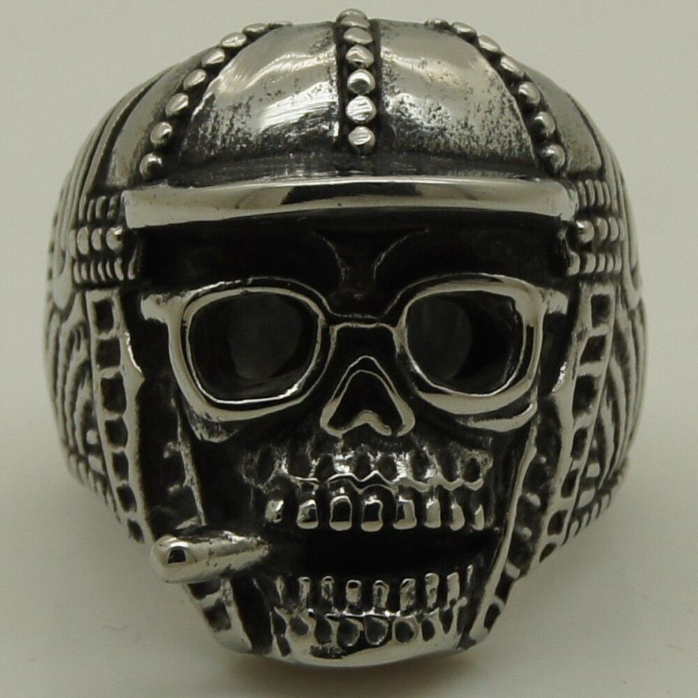 Cool men / menino chapéu óculos cigar crânio pesado aço inoxidável 316L anel