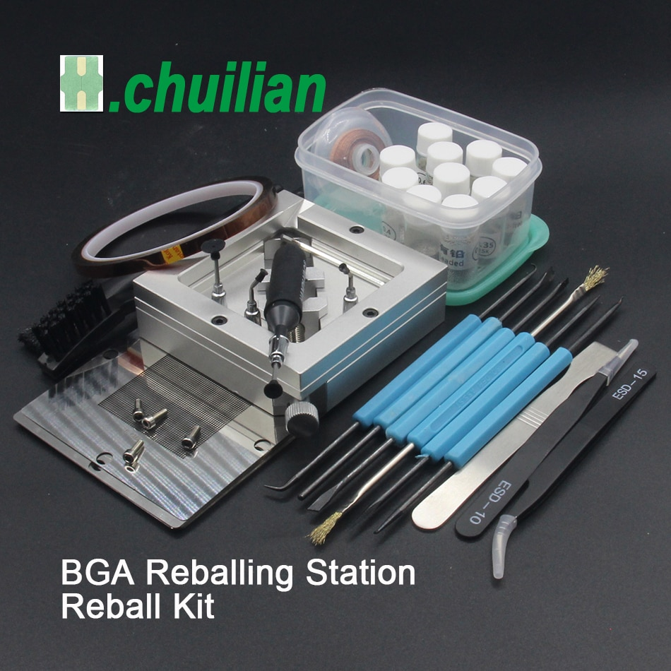 Silver Diagonal BGA Reballing Station kit 90*90mm BGA reballing station Solder balls