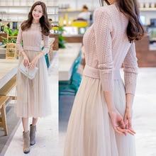 Élégant pull tricoté robe automne hiver robe à manches longues pull maille Patchwork femmes robe bureau robe longue décontractée