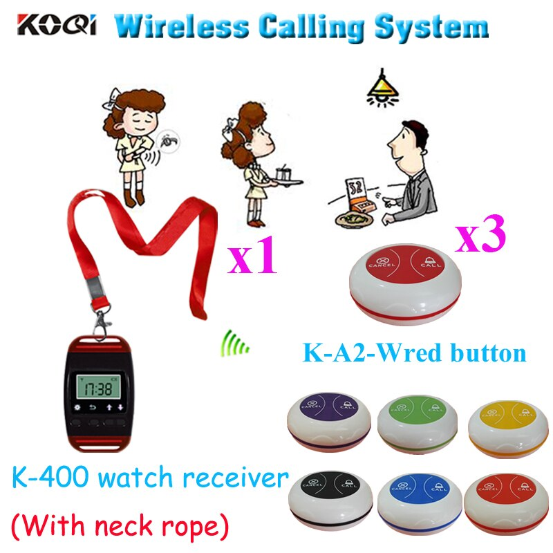 Wireless Waiter Pager System Beautiful Best Design With The Neck Rope Watch Pager & Call Button( 1pcs watch & 3pcs call button)