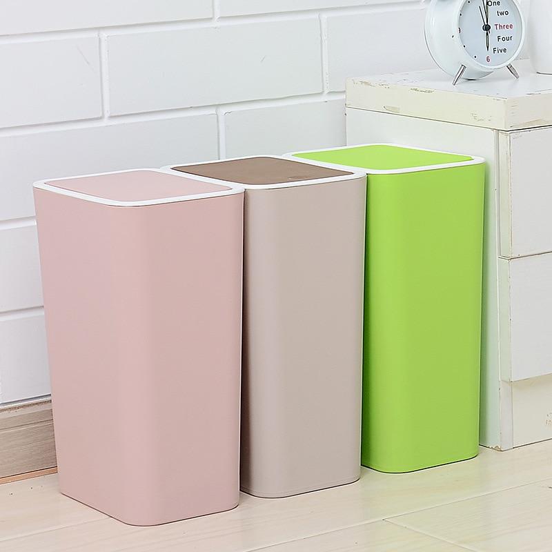 Papelera de plástico de diseño moderno, prensa de cobertura con diseño para el hogar, la cocina o la oficina, papelera de papel