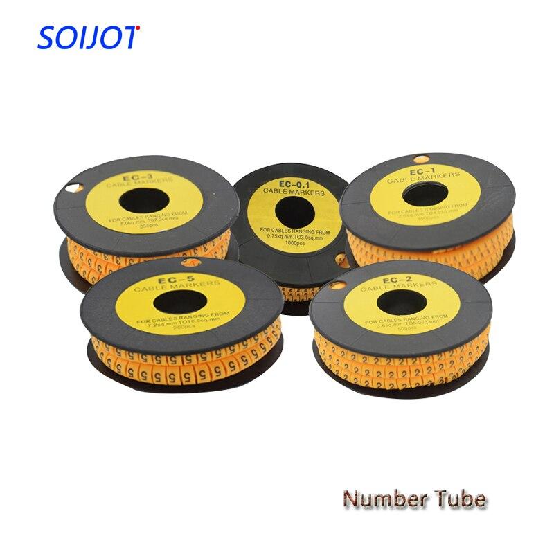 1 Número de Rollo de tubo EC-0.1 EC-0 EC-1 EC-2 EC-3 EC-5 número cuadrado tubo Cable marcador de Mark alambre M número 0 a 9
