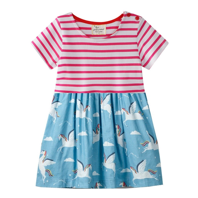 Jumping meters vestidos de algodón princesa niñas unicornio ropa de bebé de manga corta rayas animales tutú niños vestidos de verano Niña