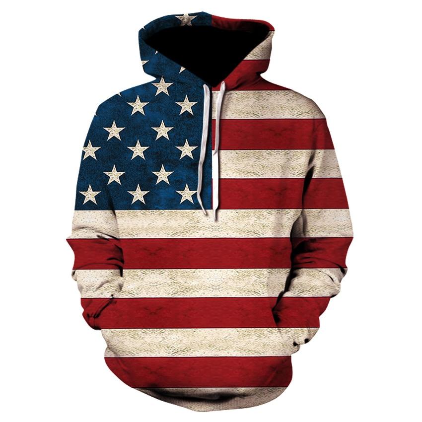 2019 brand 3D fun design USA flag hoodie fashion men's and women's sports street wear skateboard thin sweatshirt pullovers