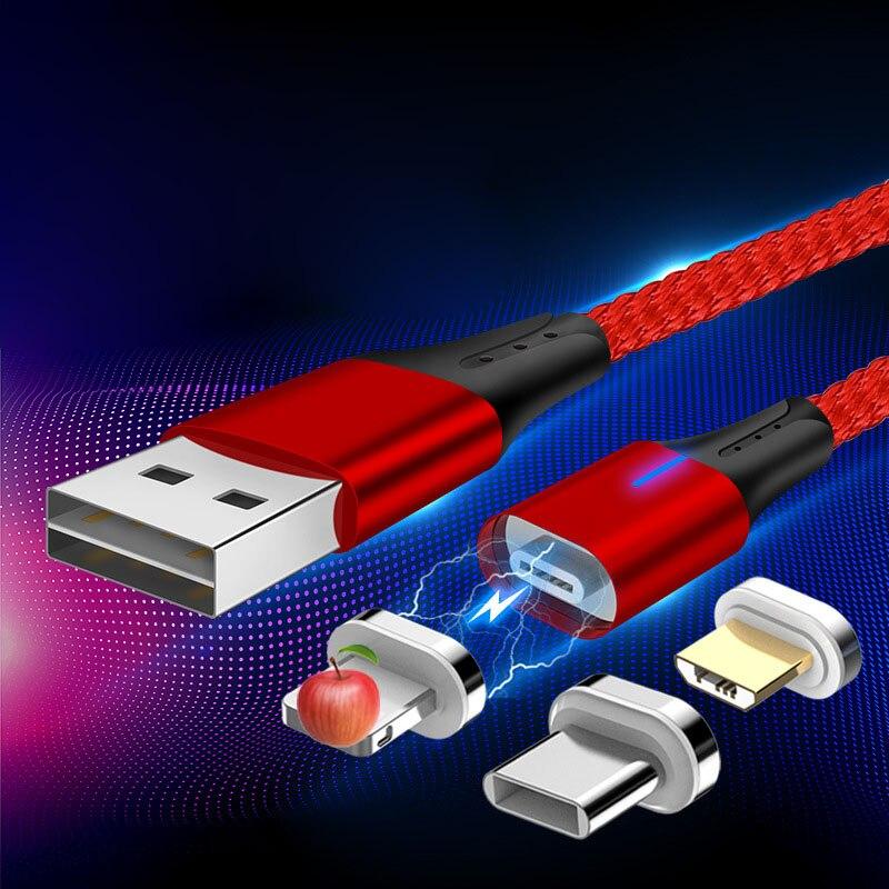 Magnético Cable de dos-de Usb tipo-c Android Cable Usb a Micro Usb Cable de carga para Iphone X 7 8 6 Xs Max Xr para Samsung