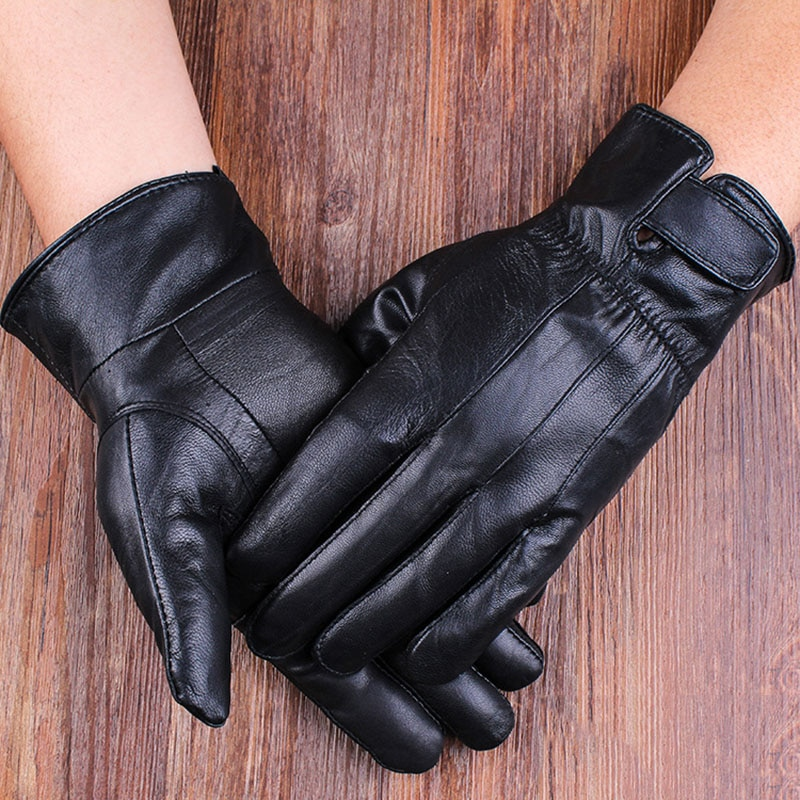 Genuine Leather Winter Men Gloves High Quality Real Sheep Sheepskin Warm Windproof Driving Glove Guantes