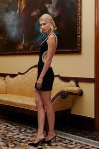 High Quality Black Mantual Beading Backless Rayon Bandage Dress Club Party Bodycon Dress