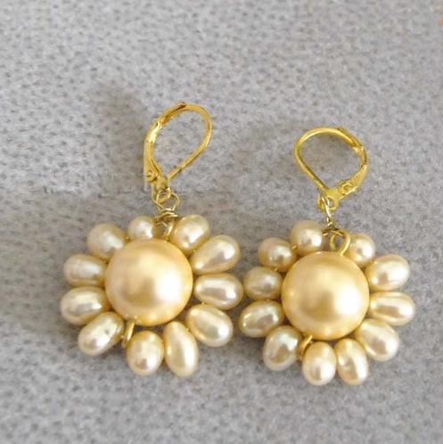 Pendientes colgantes de perlas elegantes 100% genuinos de agua dulce para mujer, joyas de plata de girasol perla de concha Amarilla Dorada
