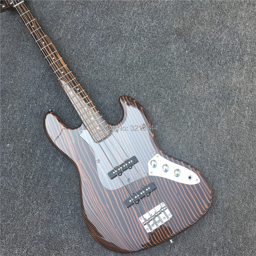 New zebra wood four string electric bass, real photos, factory wholesale. Can be modified