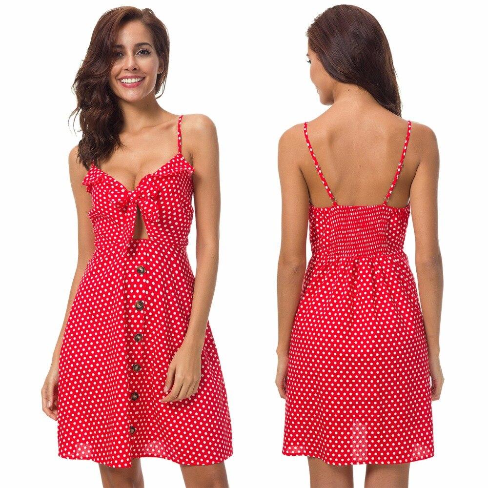 Europa y los Estados Unidos nuevo sexy mujer ola impresión ramo con algodón rojo vestido sin mangas
