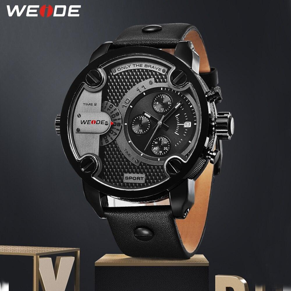 WEIDE-ساعة كوارتز فاخرة للرجال ، ساعة رياضية بحزام جلدي ، طراز عسكري تناظري