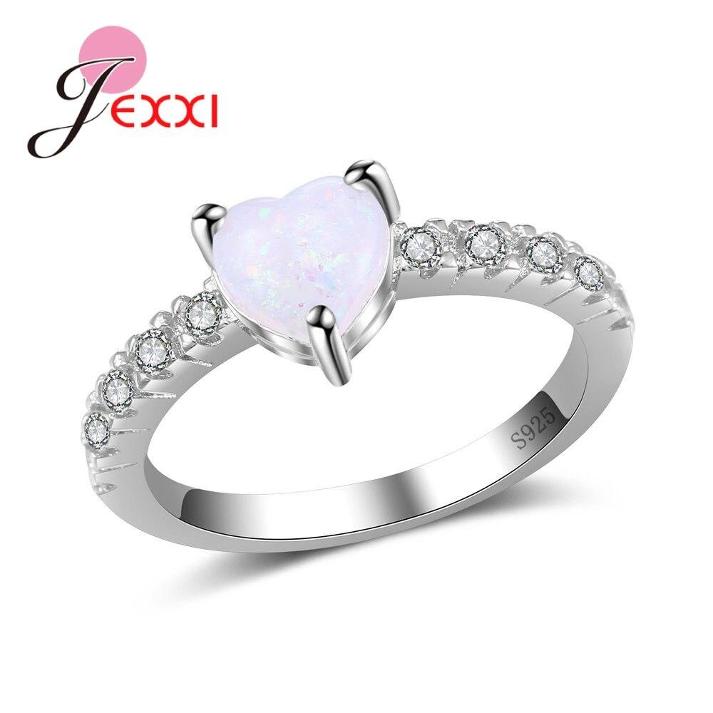 Bonito anillo de corazón de amor de ópalo 925 marca de plata esterlina para mujer accesorios de fiesta brillantes de Navidad