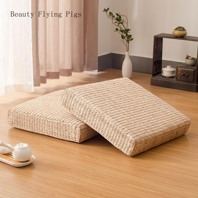 Pastoralen wind stroh Japanischen meditation kissen tatami-matte rattan futon sofa kissen dekoration kissen meditation yoga matte