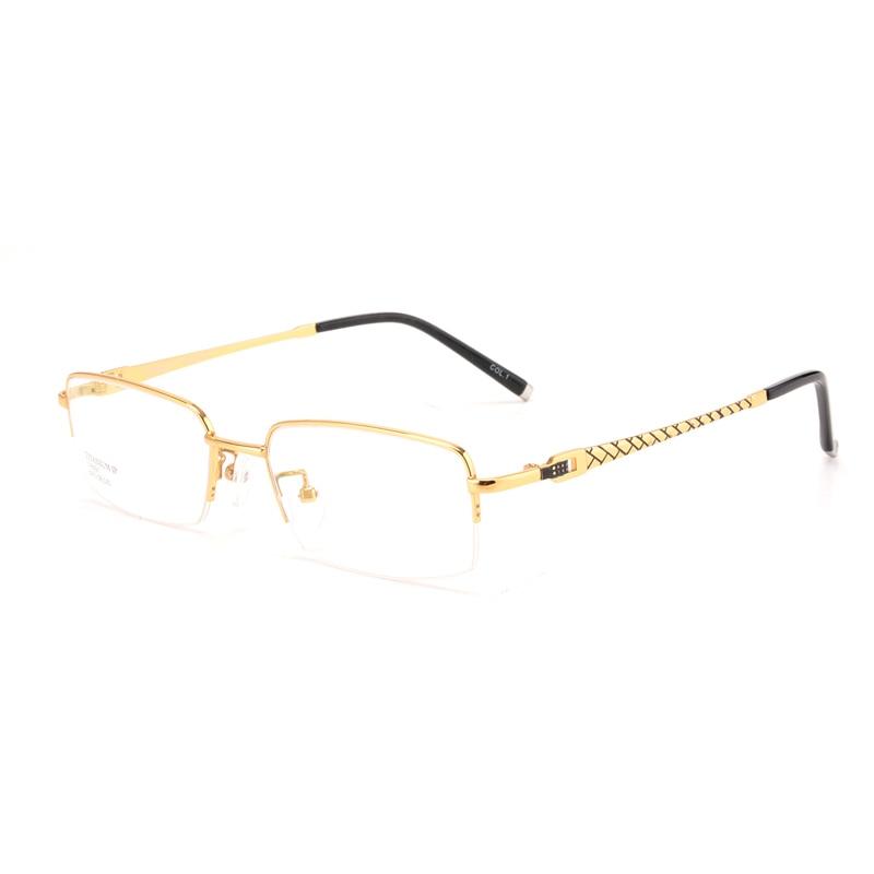 Occhiali occhiali telaio miopia maschio oro puro titanium mezzo telaio occhiali semi-senza montatura occhiali da vista di elevata Qualità 8097