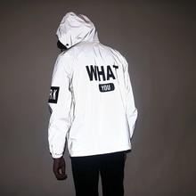Aolamegs hommes veste réfléchissante drôle lettre imprimé mince coupe-vent imperméable veste Hip Hop Zipper vêtements de sport à capuche