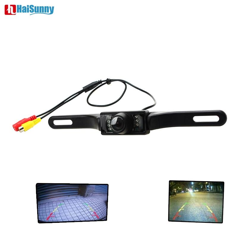 HaiSunny placa de licencia con cámara de marcha atrás de coche de respaldo IR LEDS visión nocturna infrarroja vista trasera de coche cámara para sistema de aparcamiento de vídeo