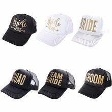 Team Bruid Stam Snapback Trucker Pet Gouden Letters Arrow Gedrukt Wedding Party Baseball Cap Club Gift