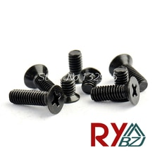 Vis à tête plate M2/M2.5/M3/M4 * L   Petites vis électroniques de couleur noire, accessoires de bricolage, couleur KM noire, 200 pièces/lot