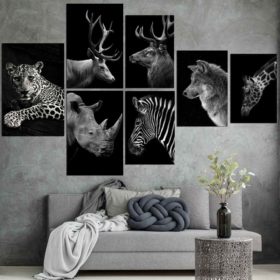 Nordic Canvas Art Schilderij Zwart Wit Giraffe Skia Herten Wolf Zebra Luipaard Print Animal Wall Art Poster Home Decor Schilderen