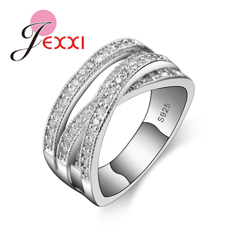 Grande venda marca de moda 925 jóias de prata esterlina zircão cúbico cristal noivado anéis de casamento para mulher anillo bijoux