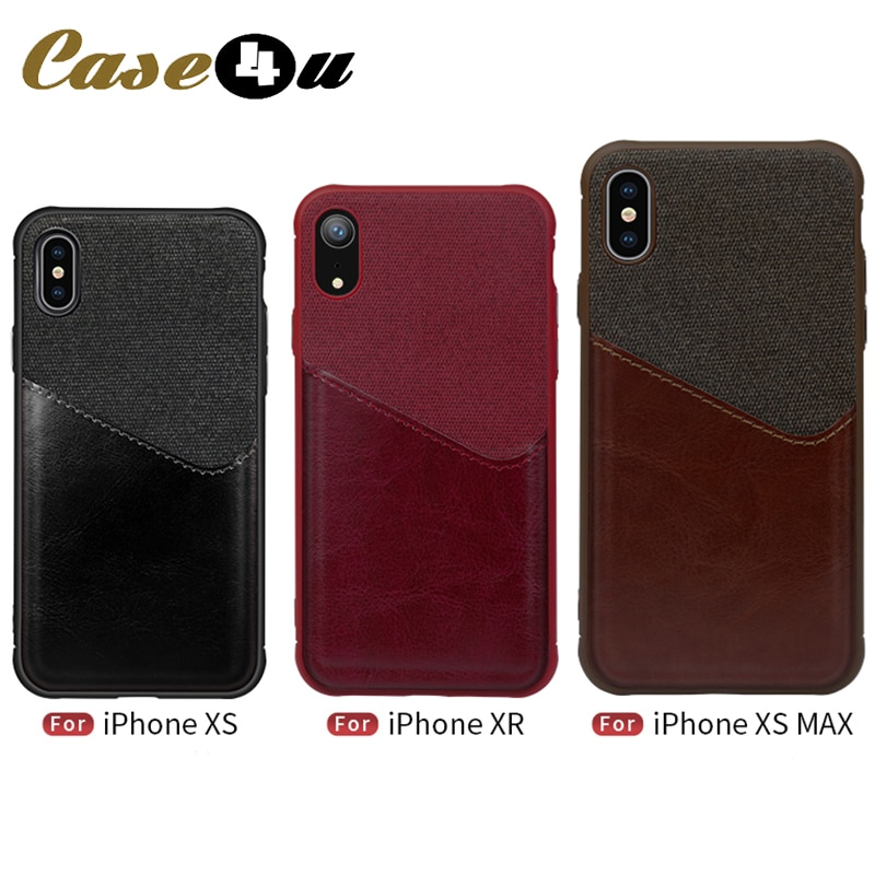 Funda de teléfono suave PU Tela de cuero para iPhone XS Max XR X 10 6s 7 8 Plus soporte con ranuras para tarjetas Bolsa De Teléfono funda trasera de lona