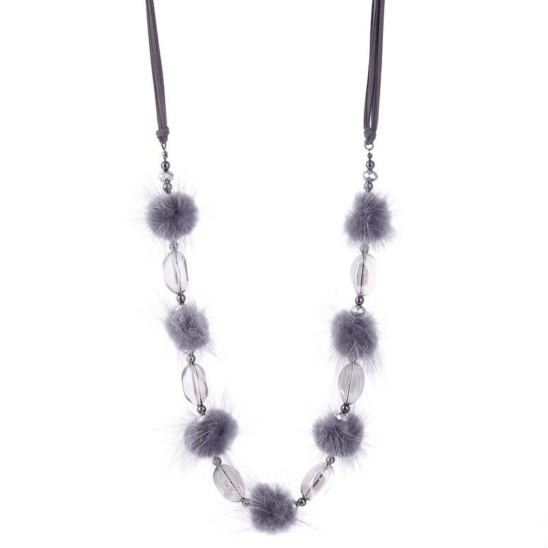 Top Qualität Nerz Haar Ball Halsketten Kristall Perlen Lange Hand Made Aussage Collier für Frauen Pullover Kette Winter Schmuck