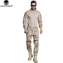 EMERSONGEAR Gen2 BDU Airsoft 전투복 전술 셔츠 바지 팔꿈치 무릎 패드 군사 사냥 의류 AOR1 EM6914