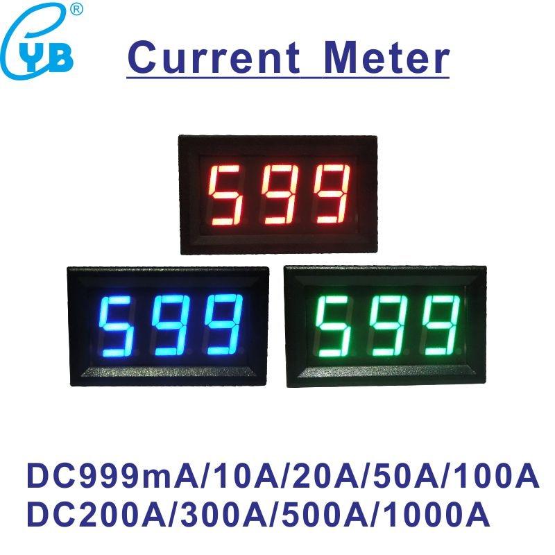 LED Digital Amperometro DC 10A 50A 100A 200A 300A 500A 75mV DC Current Meter Ampere Tester DC Amp Tester di Pannello corrente Monitor Nero