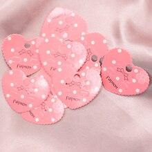 Fashion Pink Earring Display Card 5*4.3cm Heart Shape Ear Hangings 2000Pcs/Lot Ear Display Can Customized Logo