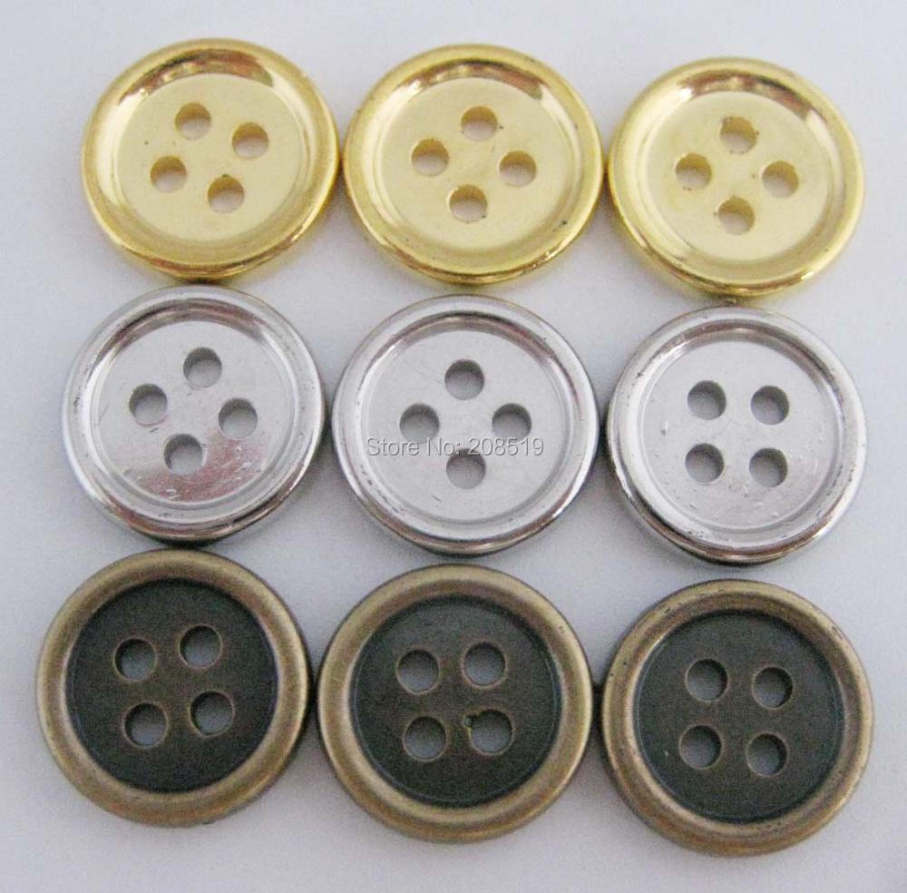 "NBNLAK 1/2"" Round shape shirt buttons silver/gold/bronze plated ABS plastic buttons 120pcs sewing supplies"