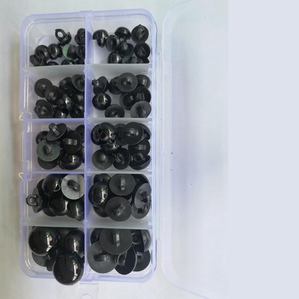 100 Uds botones de plástico redondo Negro plano ojos plásticos para muñecas Haciendo Juguetes muñecas osos de peluche ojos amigurumi muñeca Accesorios