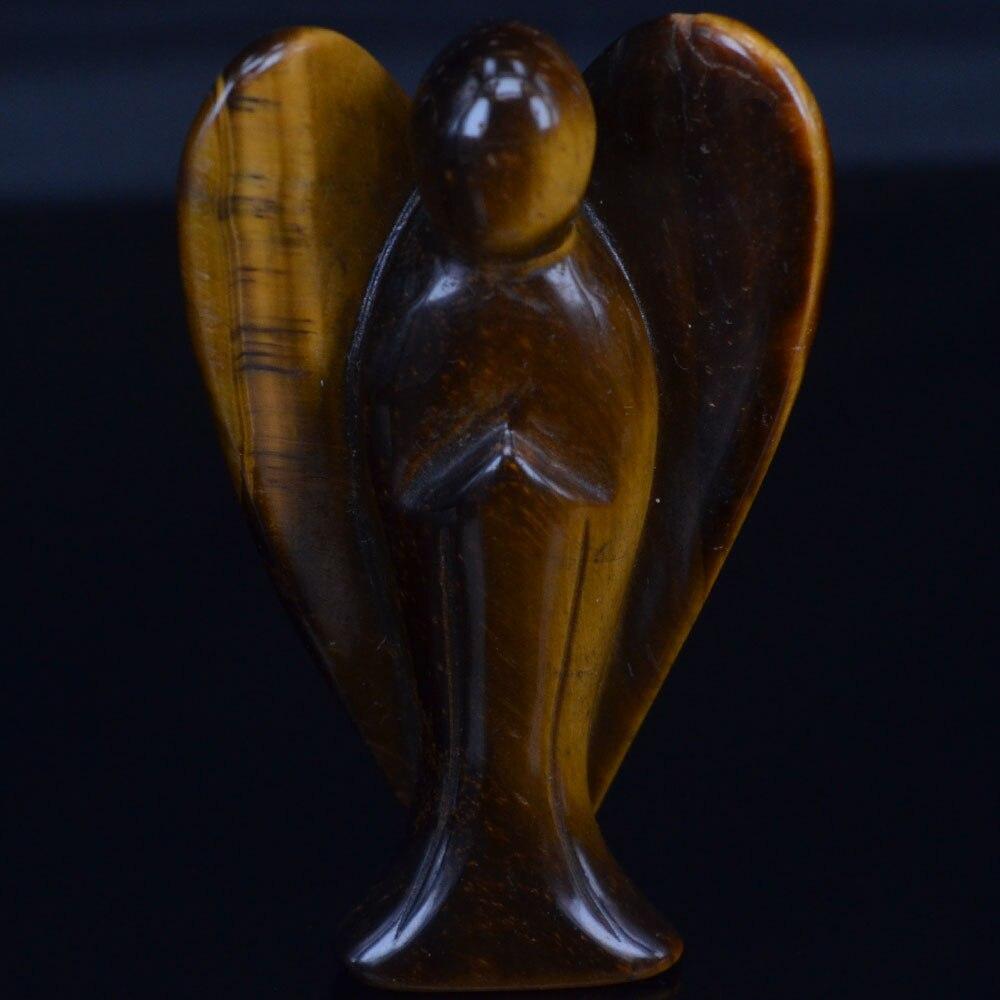 Estatua de ángel tallada de piedra preciosa de ojo de tigre amarillo Natural de 3 pulgadas, artesanía de la suerte, figurita de piedra Chakra curativa, piedra Reiki