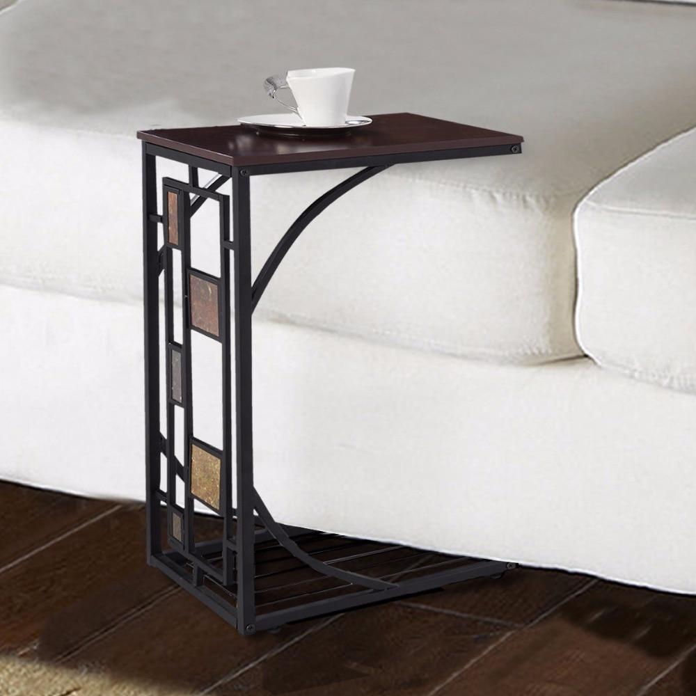 Bandeja de café Goplus, mesa de sofá lateral, sofá otomano, sala, consola, soporte, TV, Snack de regazo HW59075