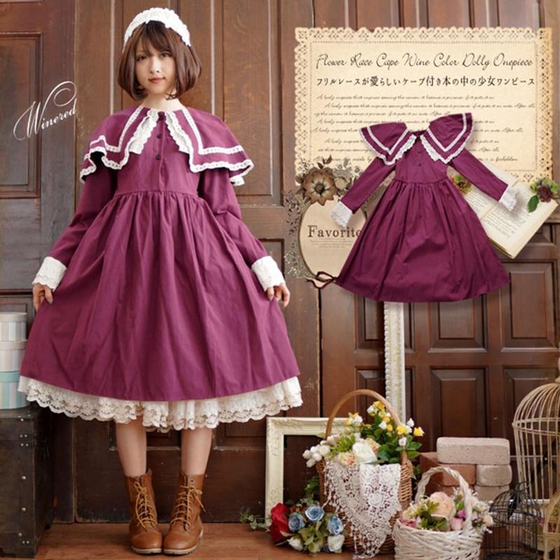 Mori Girl Lace Lolita vestido mujeres Sweet Dolly Ruffles Sailor Collar rojo vestido mariposa manga alta cintura princesa vestidos T651