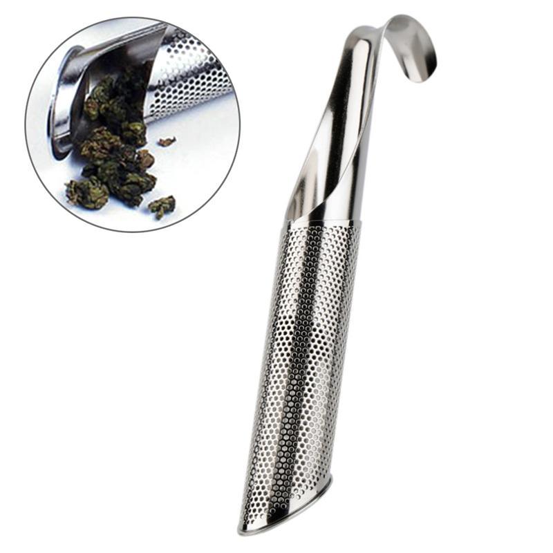 Infusor de té, tubo de acero inoxidable, escurridor de tubo con gancho para té, hojas, hierbas o especias, filtro colador de té